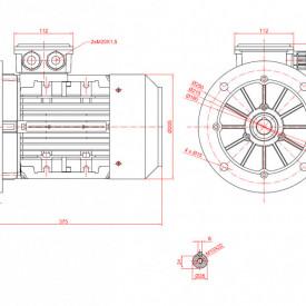 Motor electric trifazat cu doua viteze 2.5/1.8kw 1400/1000rpm 100 B5