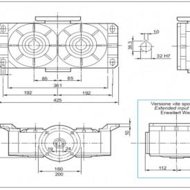 Reductor melcat cu iesire dubla tip VM 170 i=80 90B5 187rpm Nm37 H=32 Fs1.4 |2.2kw 4poli 1400rpm