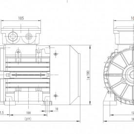 Motor electric monofazat 0.37kw 1000rpm 80 B3