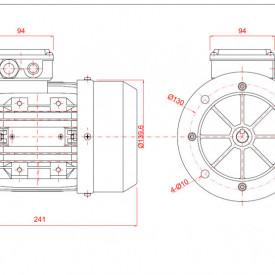 Motor electric monofazat 0.37kw 1400rpm 71 B5