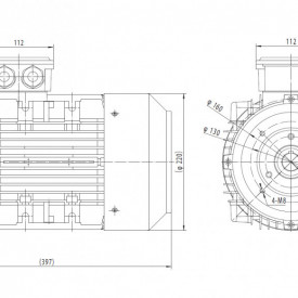 Motor electric monofazat 1.85kw 1000rpm 112 B14
