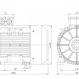 Motor electric trifazat cu doua viteze 6.1/3.3kw 1400/750rpm 132 B3