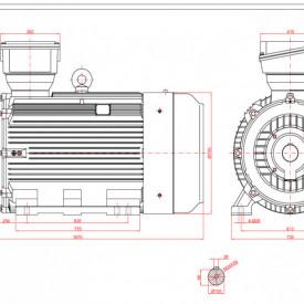 Motor electric trifazat 200kw 750rpm 355 B3