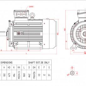 Motor electric trifazat cu doua viteze 9.5/6.1kw 1400/750rpm 160 B3