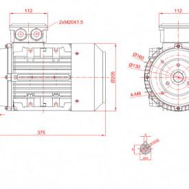 Motor electric trifazat cu doua viteze 1.8/1.2kw 1400/1000rpm 100 B14
