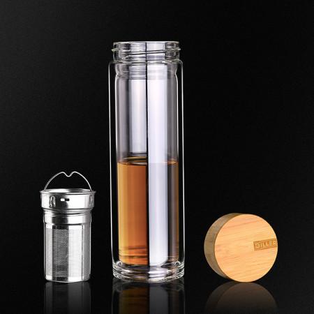 Sticla apa cu perete dublu, capac bambusz si infuzor 380ml