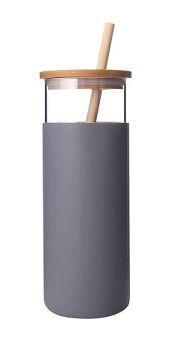 Sticla apa Diller cu capac bambusz 380ml gri