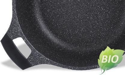Cratita acoperita cu marmura+capac sticla 24cm negru
