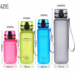 Sticla apa Uzspace Tritan, fara BPA cu capac 1000ml albastru