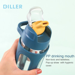 Sticla apa Diller cu capac 600ml alb