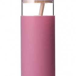 Sticla apa Diller cu capac bambusz 380ml roz