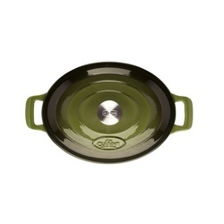 Cratita fonta emailata+capac ovala 29cm Green