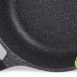 Cratita acop.marmura+capac sticla 26cm 6litri negru
