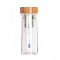 Sticla apa cu perete dublu, capac bambusz si infuzor 500ml