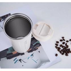 Cana de cafea portabila din otel inoxidabil 350ml alb