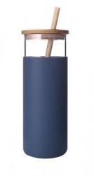 Sticla apa Diller cu capac bambusz 380ml albastru