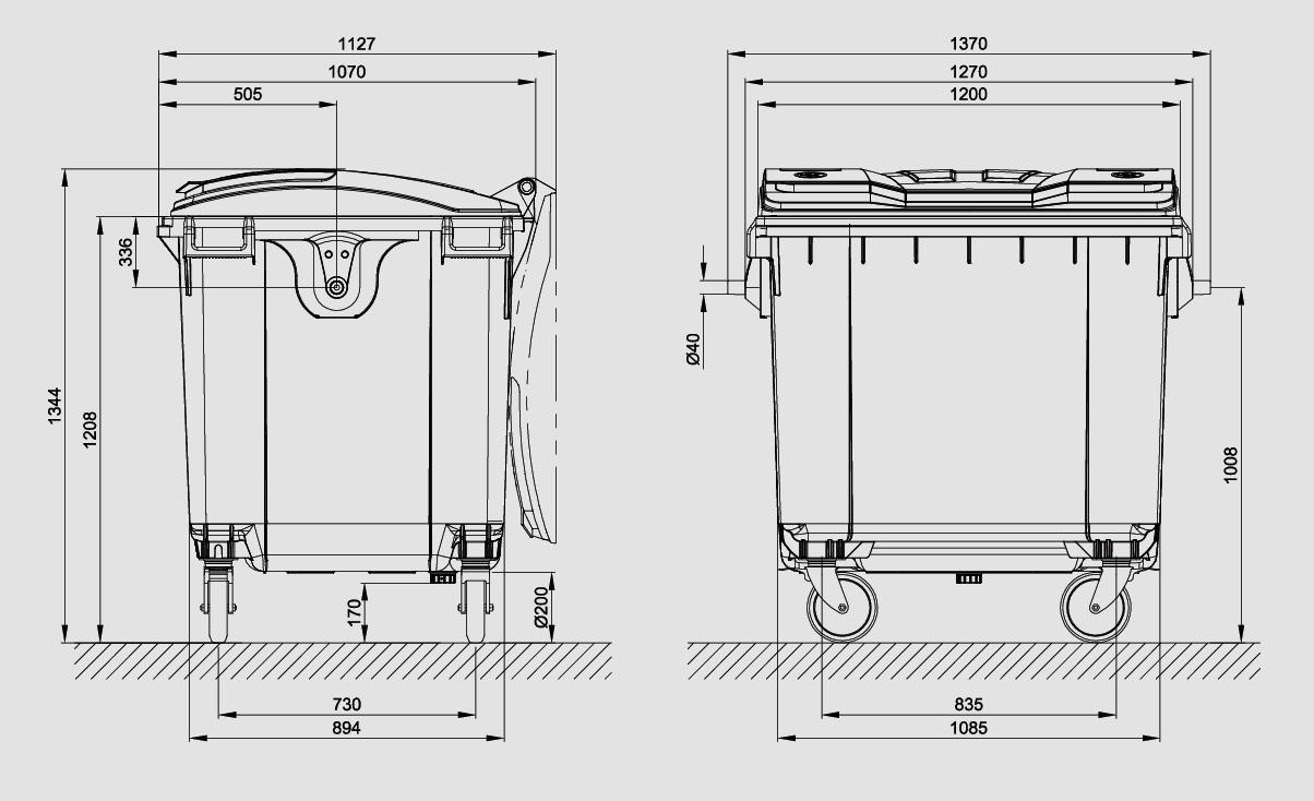 Kontejner za otpatke 1100 litara - Ravan poklopac - Zeleni