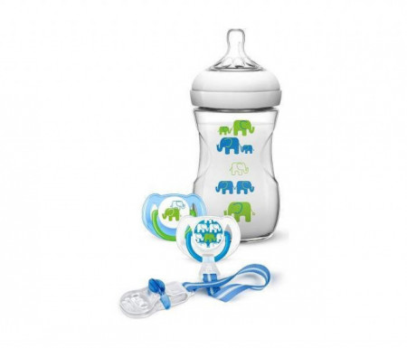 Avent poklon set plavo slonče (flašica+2 x varalica+lančić za varalicu) ( SCD627/01 )