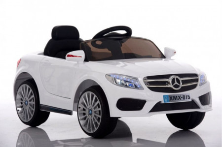Slika Mercedes XMX 815 Auto na akumulator sa kožnim sedištem i mekim gumama - Beli