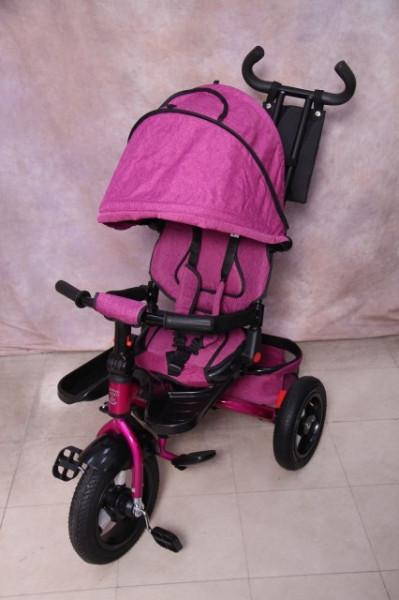 Slika Tricikl za decu T07 sa rotirajućim sedištem i gumama na pumpanje - Pink