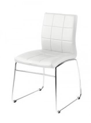 Slika Trpezarijska stolica ELLA od eko kože - Bela