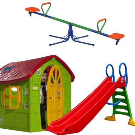 Slika Dečiji komplet za dvorište ( SET 1 ) Kućica + Tobogan + Klackalica