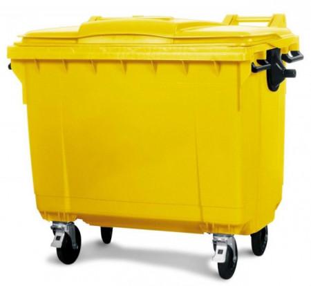 Slika Kontejner za otpatke 1100 litara - Ravan poklopac - Žuti