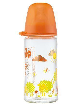 Nip staklena flašica sa širokom otvorom 0m+ 240ml narandzasta ( 0190135 )
