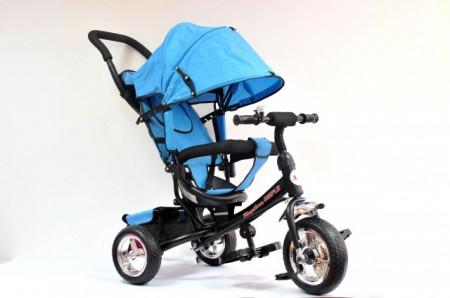 Slika Tricikl Guralica Playtime 411 Simple sa tendom od lanenog platna - Plavi