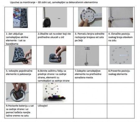 3D Zidni Sat samolepljivi - Crni ( T4341B )