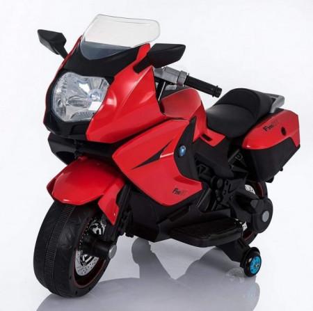 Slika GT Motor na akumulator Model 114/1 sa kožnim sedištem i mekim gumama - Metalik Crveni