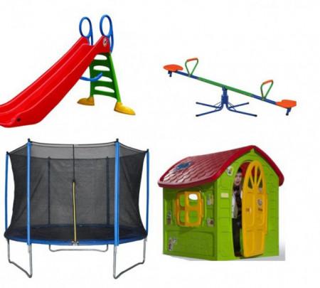 Slika Dečiji komplet za dvorište ( Playground 4 ) Trambolina183 + Kućica + Tobogan + Klackalica