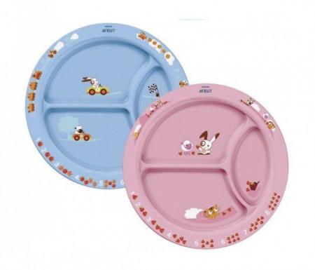 Philips Avent tanjir sa pregradama plavi roze 12m+ 0366 ( SCF702/01 )