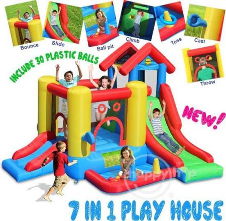 Slika 7 u 1 Play House Dvorac na naduvavanje sa spustom 300x360x235 cm (9019)
