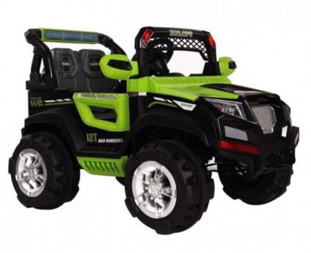 Slika Jeep Police na akumulator sa kožnim sedištima - Zeleni