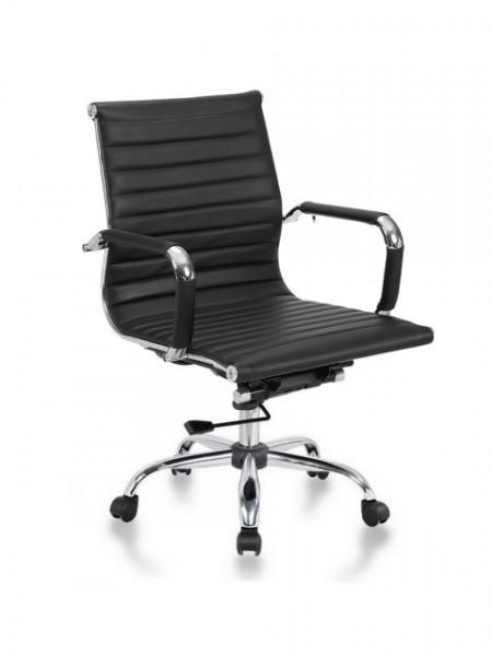 Slika Kancelarijska stolica BOB-R MB L od prave kože - Crna