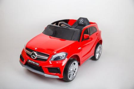 Slika Mercedes A 45 AMG Licencirani auto za decu na akumulator sa kožnim sedištem i mekim gumama - Crveni