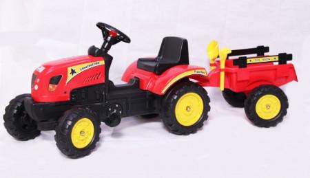 Slika Traktor 01 na pedale sa prikolicom + lopatica i grabulja - Crveni