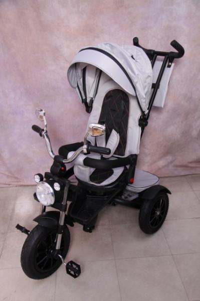 Slika Tricikl za decu T08 sa rotirajućim sedištem i gumama na pumpanje - Sivi