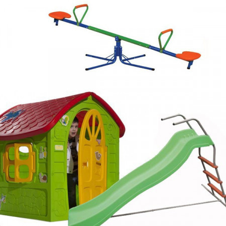 Slika Dečiji komplet LARGE za dvorište (L) Kućica + Tobogan + Klackalica