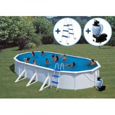 Slika GRE Ovalni porodični bazeni sa čeličnom konstrukcijom - set 7,3x3,75x1,32 m (skimer, uduvač, merdevine, peščani filter) ( 0002291 )