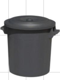 Slika Kanta 50 l sa poklopcem - crna