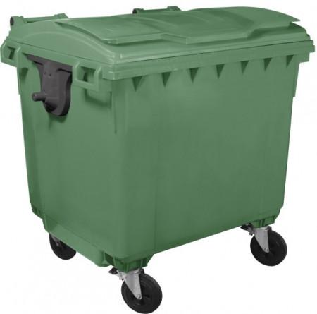 Slika Kontejner za otpatke 1100 litara - Ravan poklopac - Zeleni