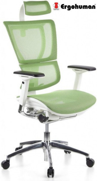 Slika Radna stolica - ERGOHUMAN GREEN - Zelena mreža - beli ram