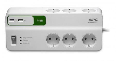 Slika APC PM6U-GR Surge arrest 6 utičnica USB razvodnik sa zaštitom i kablom 1.8 m ( 0342081 )