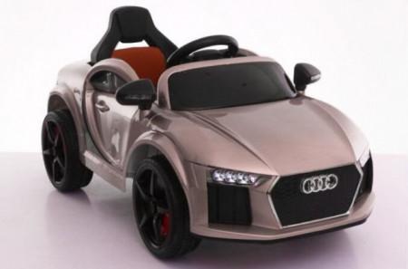 Slika Audi MIni Auto na akumulator sa kožnim sedištem i mekim gumama - Metalik siva