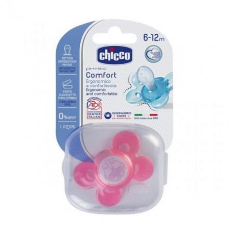 Chicco laža Giotto Comfort od silikona 6-12 ,1 kom.u kutiji,roze ( 4100045 )