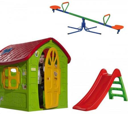 Slika Dečiji komplet za dvorište ( SET 3 ) Kućica + Tobogan + Klackalica