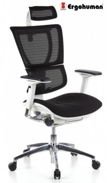 Slika Radna stolica - ERGOHUMAN WHITE - Crna mreža - beli ram