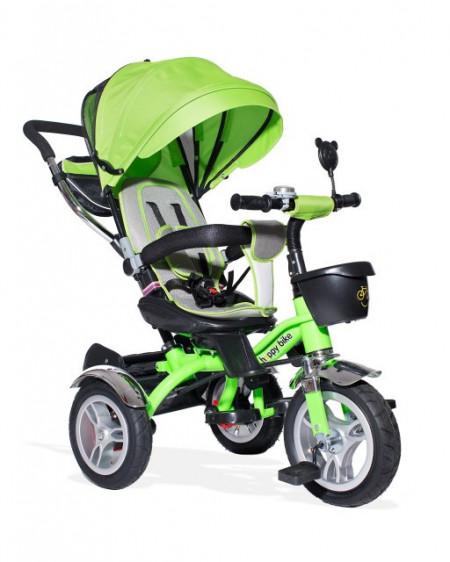 Slika Tricikl Guralica Playtime AM 408 LUX sa rotirajucim sedistem Zeleni - mekano sedište - gume na naduvavanje